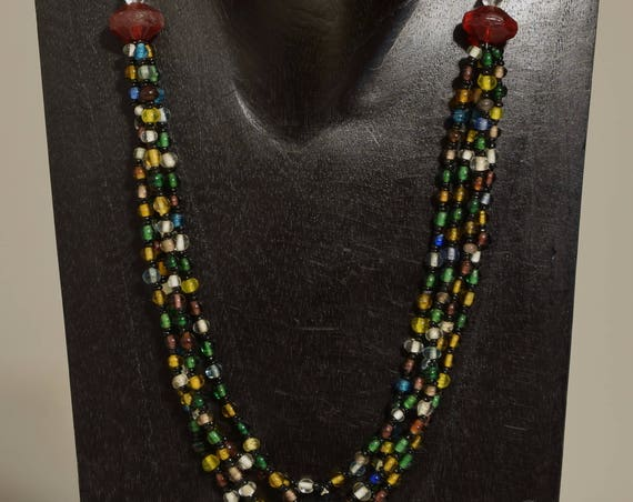 Necklace 4 Strand African Red Glass Beaded Handmade Amber Blue Glass Necklace Jewelry