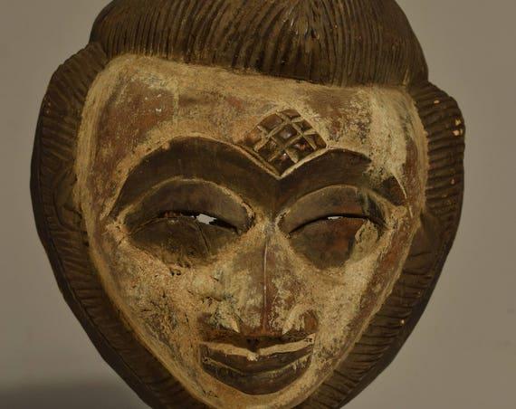 African Mask Punu Female Gabon Africa Handmade Hand Painted Wood Tribal African Female Beauty Mask