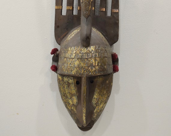 African Mask N'tomo Wood Brass Bamana Horned Mask