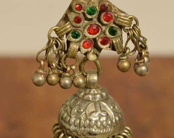 "Earring Silver Dangle Kuchi Single Red Glass Tribal Jewelry Middle Eastern Kuchi 4"""