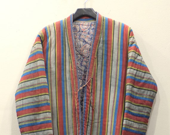 Coat Chapan Central Asia Mens Blue Red Stripped Silk Coat