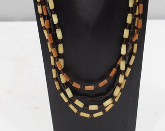 Necklace 4 Strand Natural Buri Nut Necklace