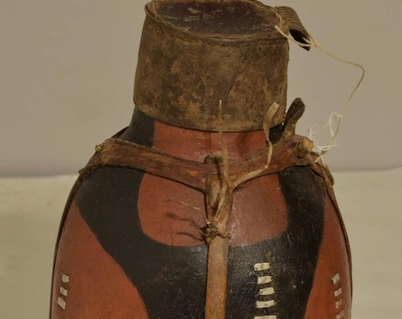 African Jug Turkana Old Milk Container Wood Leather Hide  Handmade Milk Tribal Water Hand Carved Wood Jug