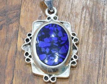 Pendant Sterling Silver Blue Purple Resin Stone Pendant