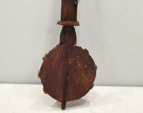 African Gourd Guitar West Africa Cowrie Shell Musical Gourd Guitar