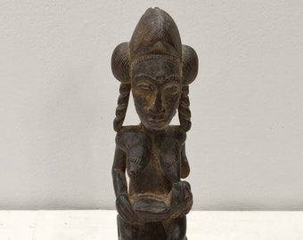 African Statue Female and Child Wood Baule Tribe Ivory Coast