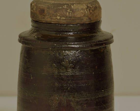 Nepal Jar Ghee Butter Hand Carved Hand Wood Offerings Ghee Butter Jar