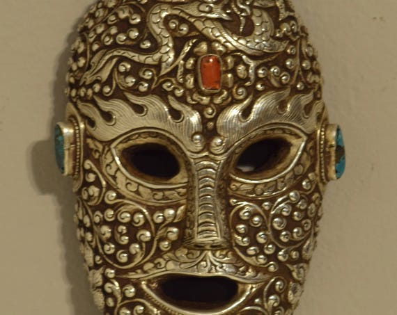 Tibetan Mask Ornate Silver Coral Turquoise Hand Crafted Silver Festival Religious Tibetan Mask