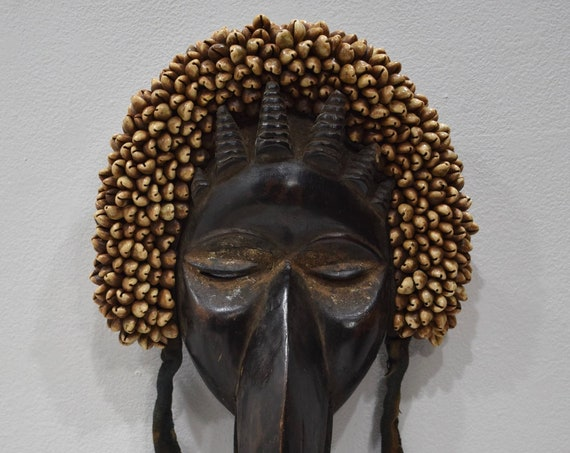 African Mask Dan Tribe Liberia Burnished Wood Cowrie Shells Dan Mask