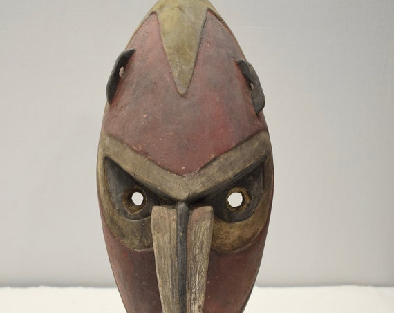 Papua New Guinea Mask Lamingsain Village Sepik River Boiken Tribe Wood Mask