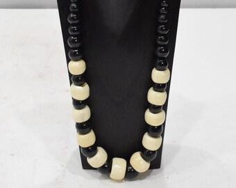Necklace Black Wood White Bone Necklace