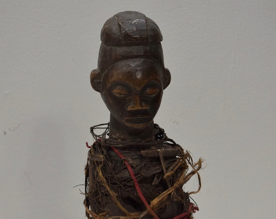 African Statue Yaka Tribe Fetish Double Face Statue Congo