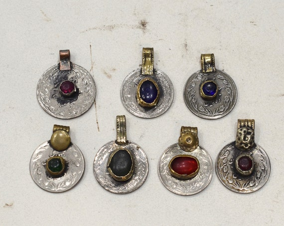 Coin Kuchi Middle Eastern Pendants Colored Glass Coin