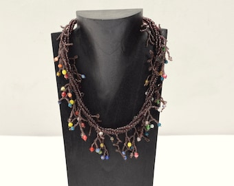 Necklace Indonesian Purple Beaded Glass Necklace