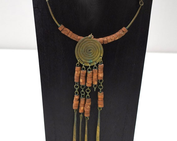 Necklace Africa Brass Masai Coil Necklace Kenya 28""