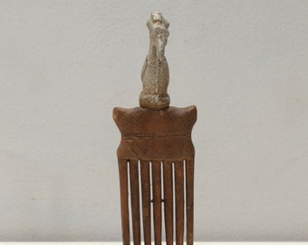 African Hair Pick Comb Silver Bird Topped