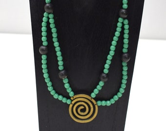 """Necklace African Old Turkana Brass Coil Pendant 24"""""""