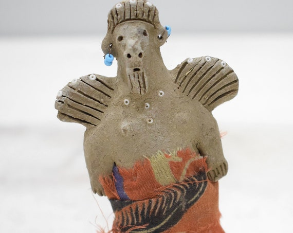 African Painted Clay Angel Nativity Doll Samburu Kenya