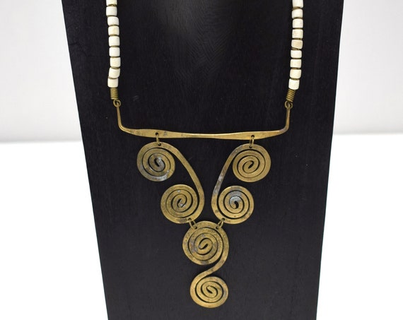 Necklace Africa Turkana Brass White Glass Necklace 20""