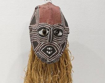 African Mask Makishi Cloth Raffia Mask Zambia