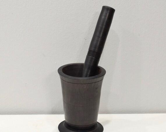 Mortar Pestle African Ebony Wood Spice Grinder Tanzania