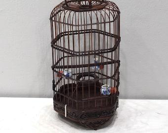Birdcage Chinese Wicker Hexagon Adjustable Birdcage Porcelain Water Food Bowls