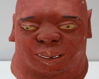 Mask African Red Makonde Helmet Wood Mask