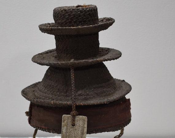 African Hat Botolo Cylindrical Tiered Rattan Ntumba Tribes Congo