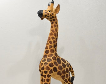 African Statue Giraffe Carved Wood Tall Statue