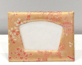 Picture Frame Chinese Peach Satin Brocade  Frame 5x7