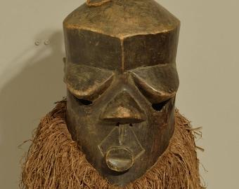Mask African Suka Helmet Ceremonial Congo Handmade Wood Ancestor Suka Raffia Helmet Mask