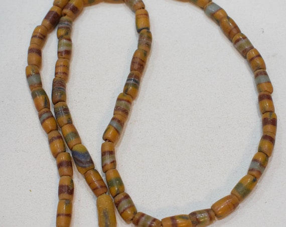 Beads African Sandcast Glass Yellow Stripe Vintage 12mm - 14mm