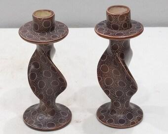 Candle Holder Set Soapstone Carved Abstract Design Kenya