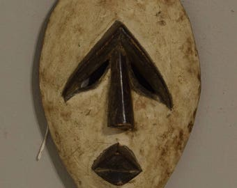 African Mbole White Kaolin Mask Lengola Congo Handmade Inititation Ceremonial Status Ritual Abstract Mbole Mask