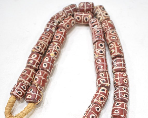Beads African Krobo Patterned Beads Ghana 16mm