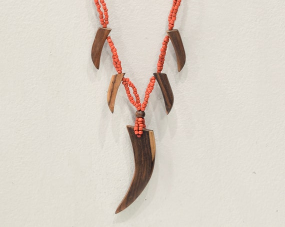 Necklaces Indonesian Assorted Beaded Wood Claw Necklaces