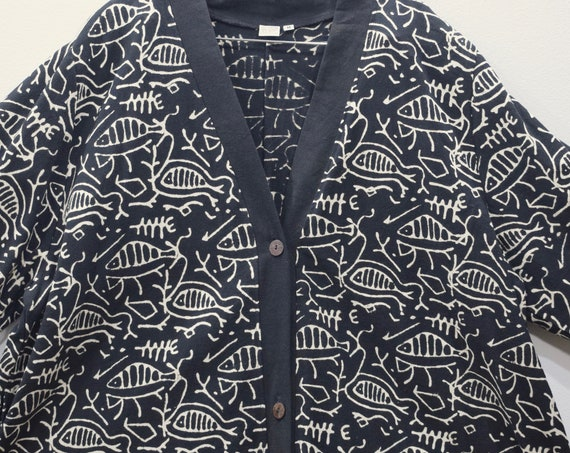 Coat African Mudcloth Cotton Fish Design