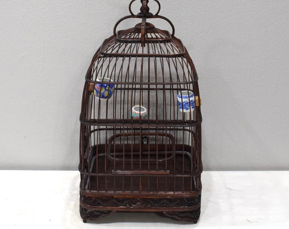 Birdcage Chinese Wicker Cathedral Birdcage Porcelain Water Food Bowls