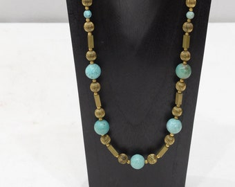 Necklace Chinese Turquoise Gold Tube Beaded Necklace