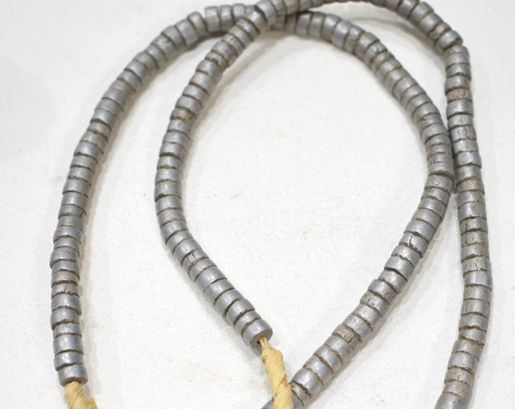 Beads African Alumimum Masai Heishi Beads 4mm - 6mm