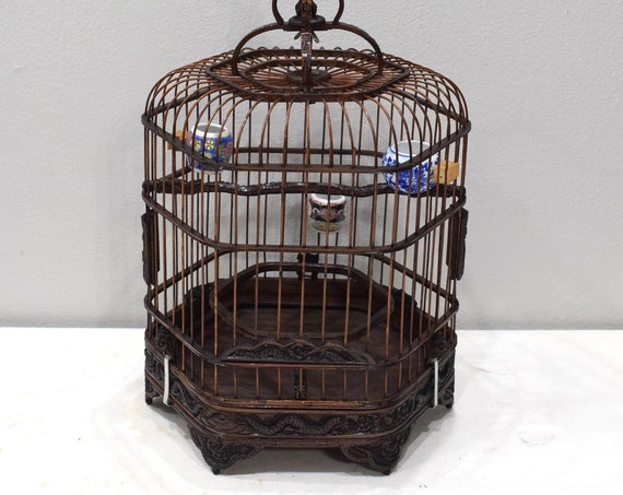 Birdcage Chinese Wicker Hexagon Birdcage Porcelain Water Food Bowls