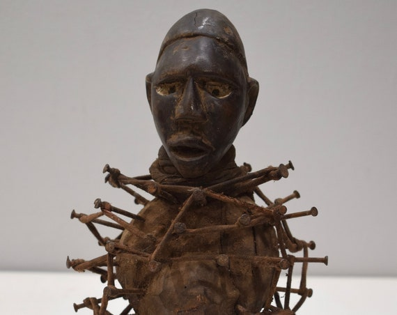 African Nail Fetish Congo Wood Nails Statue Fetish Statue