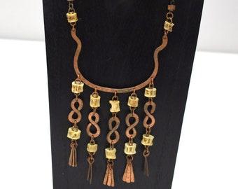 "Necklace African Old Copper Pendant Necklace Kenya 24"""
