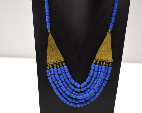 Necklace African Old Turkana Blue Glass 20""