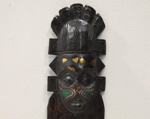 African Mask Ashanti Queen Wood Beaded Ghana Queen Mask