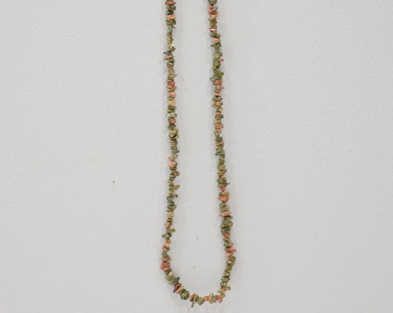 Necklace  Green Unakite Jasper Nugget Necklace Strand