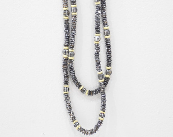 Necklace Painted Black Wood Beaded Necklaces