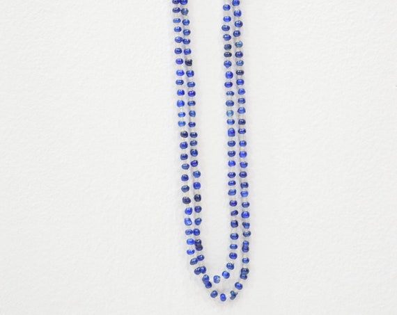 Necklace Long Strand Blue White Beaded Necklace