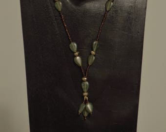 Necklace Green Czech Leaf Pendants Bronze Seeds Handmade Green Glass Gold Spacers Bronze Seed Bead necklace