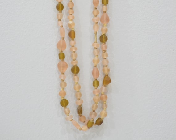 Necklace Glass Assorted Pink Taupe Bead Knotted Necklace